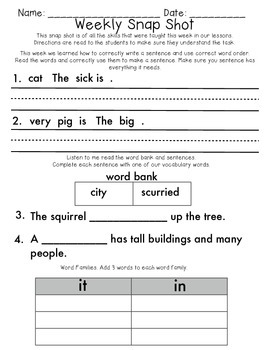 Reading Wonders 1st Grade  Unit 1 Week 2 Weekly Assessment