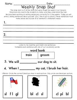 Reading Wonders 1st Grade  Unit 1 Week 3 Weekly Assessment
