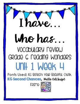 Grade 6 Reading Wonders Unit 1 Week 4 Vocab