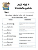Reading Wonders Unit 1 Week 4 Vocabulary Test 5th grade