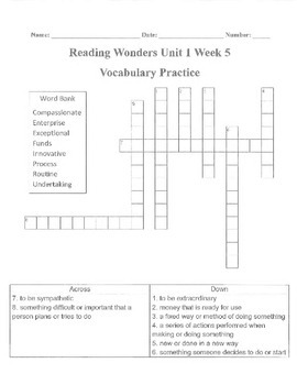 Reading Wonders Unit 1 Week 5