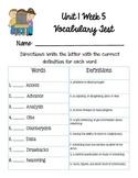 Reading Wonders Unit 1 Week 5 Vocabulary Test 5th grade