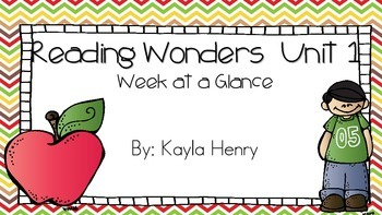 Reading Wonders  Unit 1  Week at a Glance
