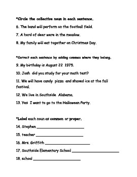 Reading Wonders Unit 2 Grammar Test