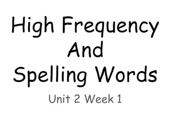 Reading Wonders Unit 2 High Frequency and Spelling Words Fitness