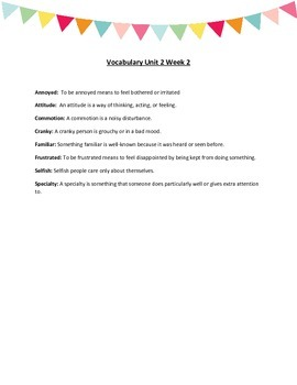 Reading Wonders Unit 2 Vocabulary