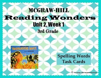 Reading Wonders Unit 2, Week 1 Spelling Task Cards