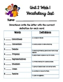Reading Wonders Unit 2 Week 1 Vocabulary Test 5th grade