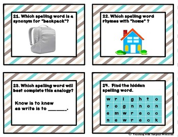 Reading Wonders Unit 2, Week 3 Spelling Task Cards
