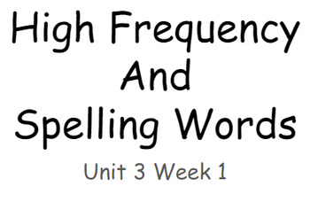 Reading Wonders Unit 3 High Frequency and Spelling Words Fitness