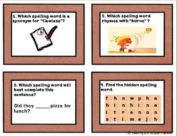 Reading Wonders Unit 3, Week 1 Spelling Task Cards