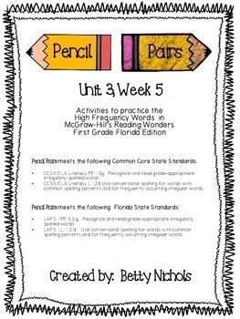 Reading Wonders Unit 3 Week 5 Pencil Pairs ***WITH 45 BONUS PAGES***
