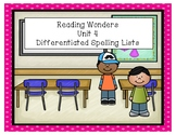 Reading Wonders Unit 4 Differentiated Spelling Lists
