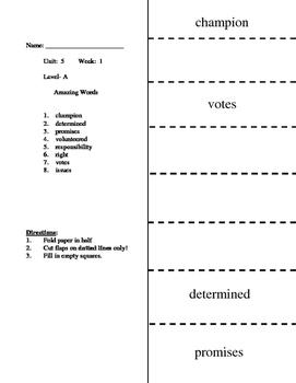 Reading Wonders Unit 5.1 Vocabulary Flip