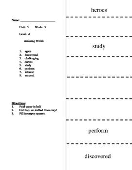 Reading Wonders Unit 5.3 Vocabulary Flip