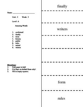 Reading Wonders Unit 5.5 Vocabulary Flip