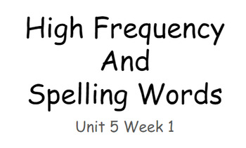 Reading Wonders Unit 5 High Frequency and Spelling Words Fitness