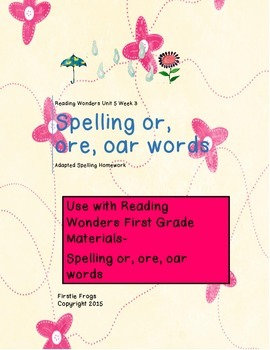 Reading Wonders Unit 5 Week 3 Adapted Spelling List and Homework
