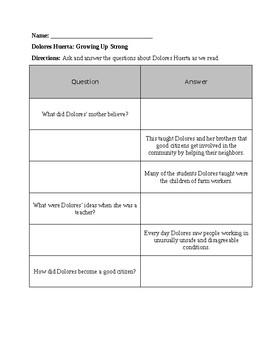 Reading Wonders Unit 5 Week 4 RI.3.1 Dolores Huerta: Growing Up Strong