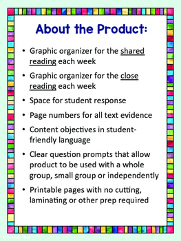 Third Grade Reading Wonders (Unit 6) Close Read Graphic Organizers