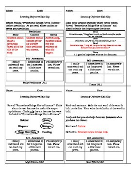 Reading Wonders Unit 6 Grade 3 Objective Checks