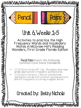 Reading Wonders Unit 6 Pencil Pairs Combo Pack ***WITH BON