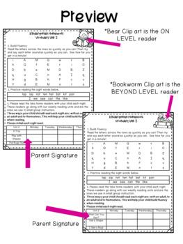 Reading Wonders Unit Homework Kindergarten