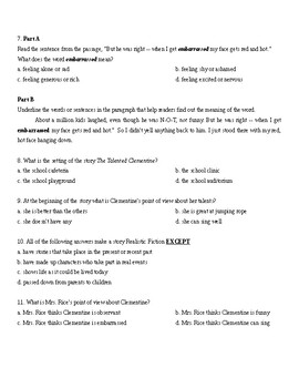 Reading Wonders: Unit four week two comprehension test