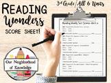 Reading Wonders Units 1-6 Weekly Test Score Sheet