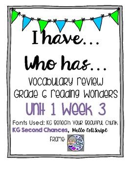 Grade 6 Reading Wonders Vocabulary Unit 1 Week 3