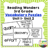 Reading Wonders 3rd Grade Vocabulary Puzzles Units 1- Units 2