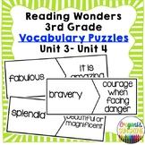 Reading Wonders 3rd grade Vocabulary Puzzles Units 3 - Units 4 (McGraw Hill)