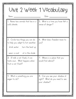 Reading Wonders Vocabulary Supplement for Grade 2, Unit 2