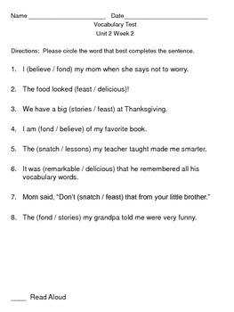 Reading Wonders Vocabulary Test Unit 2 Weeks 1-5