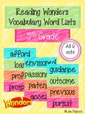 Reading Wonders Vocabulary Word Lists Grade 5