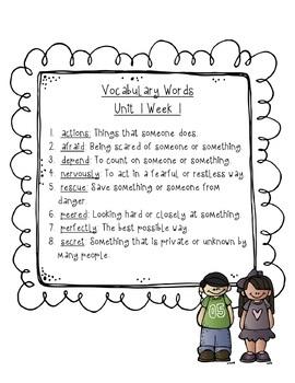 Reading Wonders Vocabulary Word Search Unit 1 Bundle 2nd grade