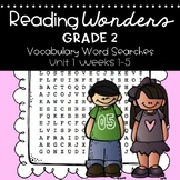 Reading Wonders Vocabulary Word Search Unit 1 Bundle 2nd grade