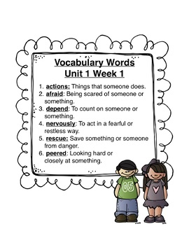 Reading Wonders Vocabulary Word Search Unit 1 Week 1