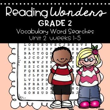 Reading Wonders Vocabulary Word Search Unit 2 Bundle 2nd grade