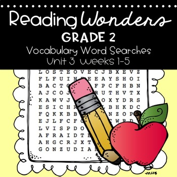 Reading Wonders Vocabulary Word Search Unit 3 Bundle 2nd grade