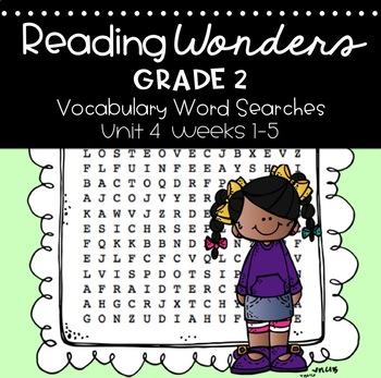 Reading Wonders Vocabulary Word Search Unit 4 Bundle 2nd grade
