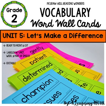 Reading Wonders Vocabulary Word Wall Cards Grade 2 Unit 5