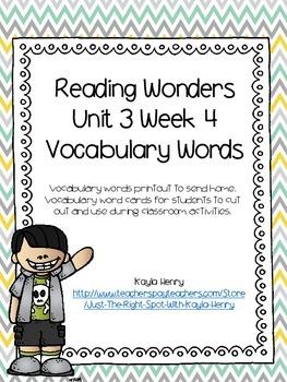 Reading Wonders Vocabulary Words Unit 3 Week 4