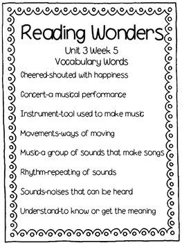Reading Wonders Vocabulary Words Unit 3 Week 5