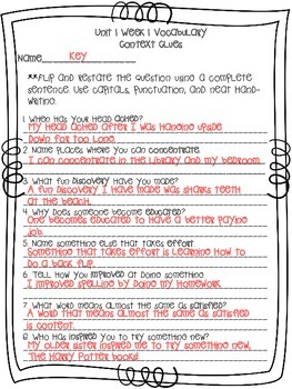 McGraw-Hill Reading Wonders Vocabulary in Context Unit 1
