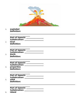 Reading Wonders Volcanoes Literature Packet