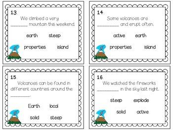 Reading Wonders ~ Volcanoes story activities (Unit 4, Week 2)