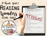 Reading Wonders Weekly Test Score Sheet Unit 1 FREEBIE