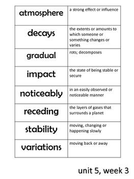 Reading Wonders Weekly Vocabulary Cut and Paste (unit 5)