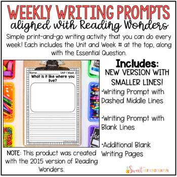 Reading Wonders Weekly Writing Prompts (1st Grade)